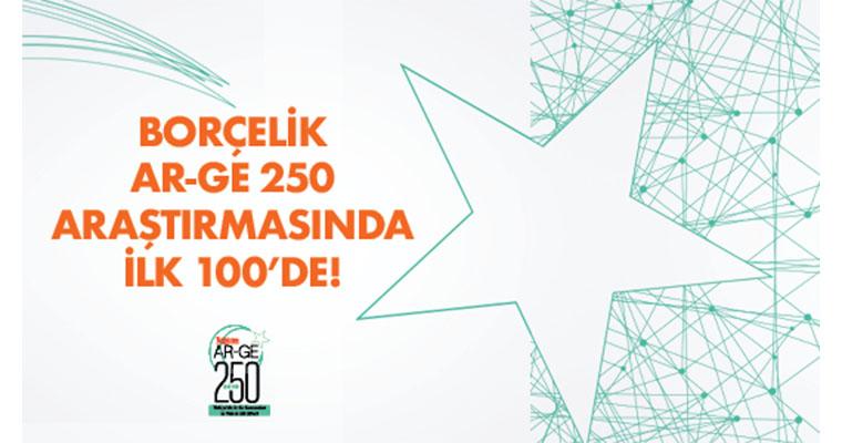Borçelik Ar-Ge 250 Araştırması'nda 100. Sırada! 